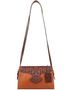Scully Women's Leather Tooled Overlay Handbag, Tan, hi-res
