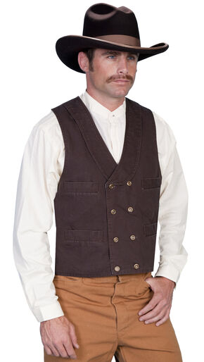 Rangewear by Scully Cotton Canvas Double Breasted Vest, Walnut, hi-res