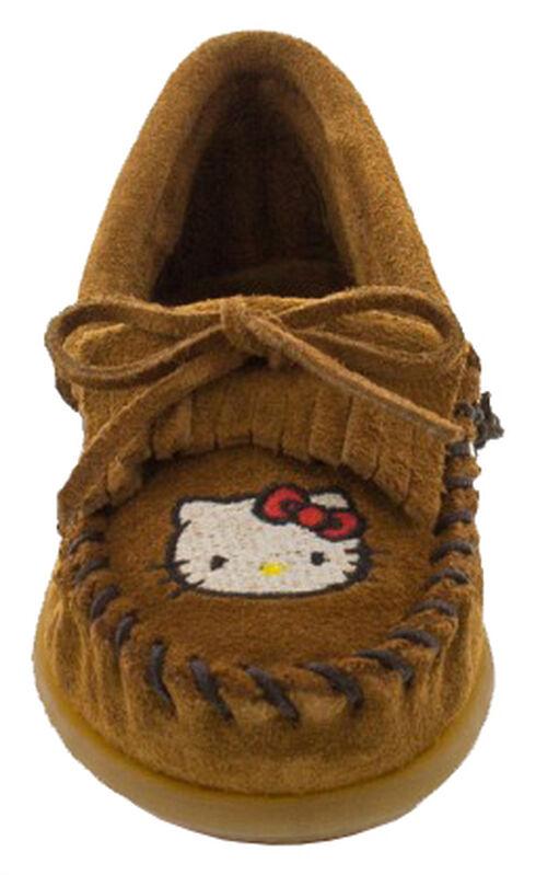 Minnetonka Girls' Hello Kitty Moccasins, Brown, hi-res