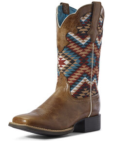 Ariat Women's Aztec Round Up Western Boots - Wide Square Toe, Brown, hi-res