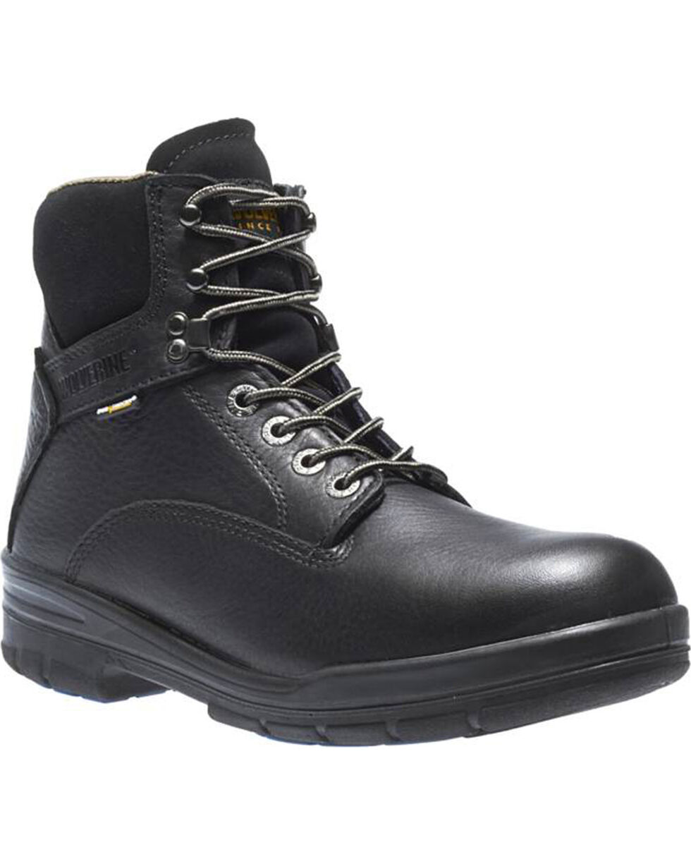 "Wolverine Men's Black Durashocks SR Direct 6"" Work Boots - Round Toe , Black, hi-res"