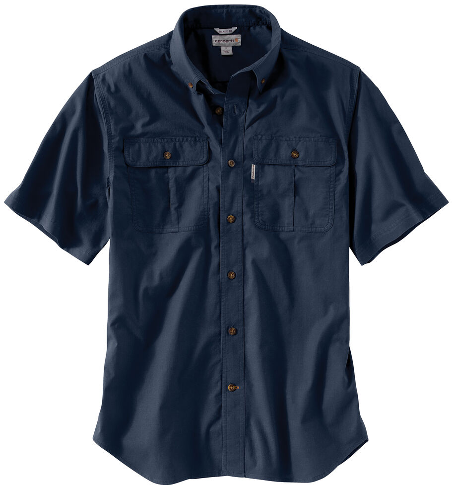 Carhartt Men's Navy Foreman Solid Short Sleeve Work Shirt, Navy, hi-res