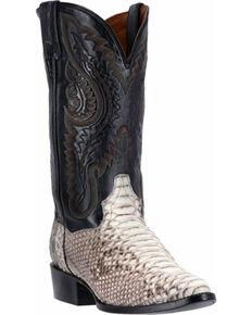 Dan Post Men's Natural Omaha Python Cowboy Boots - Medium Toe, Natural, hi-res