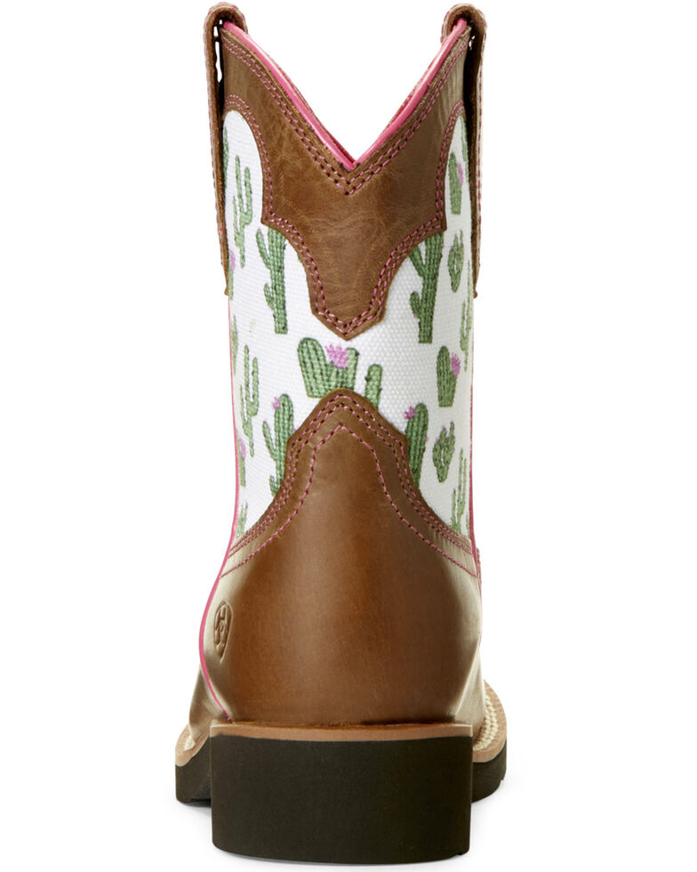 Ariat Youth Girls' Cactus Print Western Boots - Round Toe, Sand, hi-res