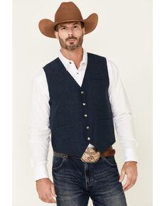 Cody James Men's Solid Navy Stunt Text Button-Down Wool Vest , Navy, hi-res