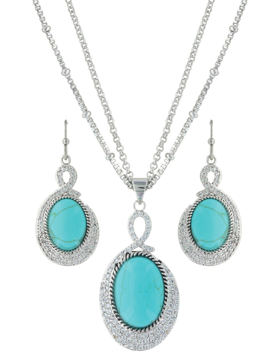 Montana Silversmiths Women's Curling Path Jewelry Set , Silver, hi-res