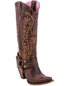 Junk Gypsy by Lane Women's Vagabond Harness Western Boots - Snip Toe, Brown, hi-res
