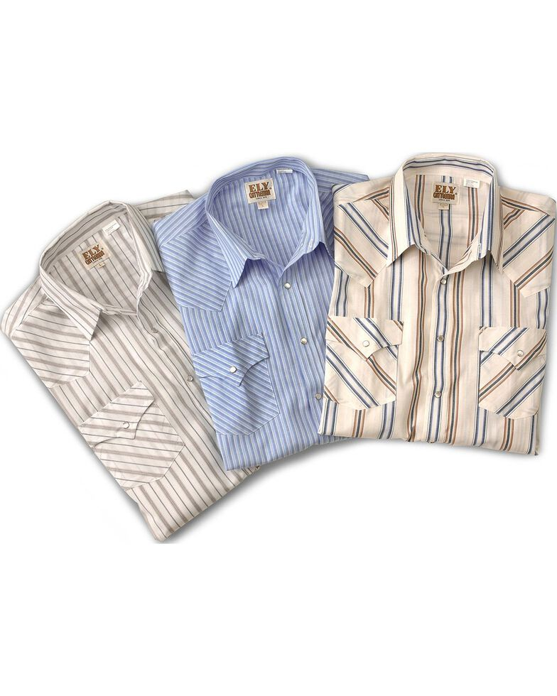 Ely Walker Men's Assorted Plaid & Stripe Long Sleeve Western Shirts - Big & Tall, Stripe, hi-res