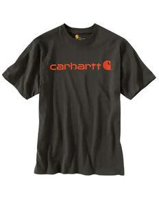 Carhartt Men's Dark Grey Loose Fit Heavyweight Logo Short Sleeve Work T-Shirt , Dark Grey, hi-res