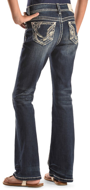 Grace in LA Girls' Abstract Bootcut Jeans , Indigo, hi-res