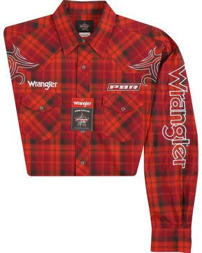 Wrangler Men's PBR Logo Western Snap Shirt - Big & Tall, Red, hi-res
