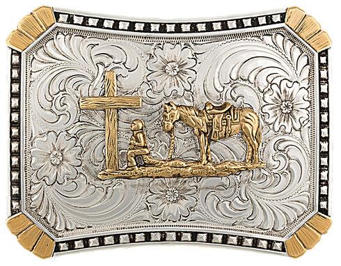 Montana Silversmiths CrossCut Heirloom Christian Cowboy Belt Buckle, Multi, hi-res