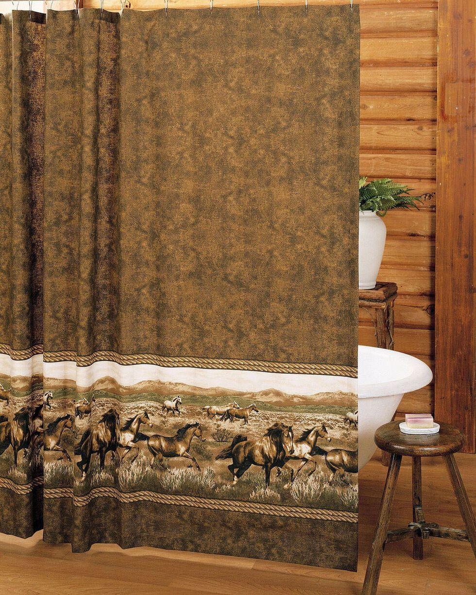 Karin Maki Wild Horses Shower Curtain, Brown, hi-res