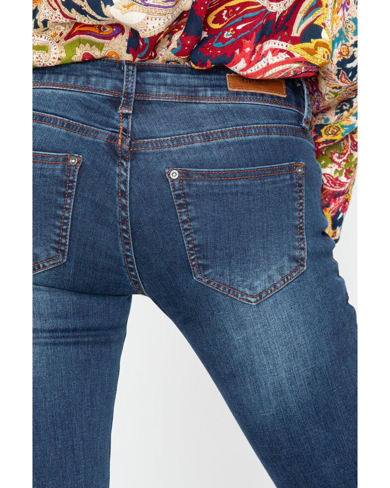 Grace In LA Women's Floral Embroidered Bootcut Jeans, Indigo, hi-res