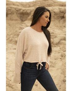 Kimes Ranch Women's Blush Moab Long Sleeve Drawstring Crop Top , Blush, hi-res