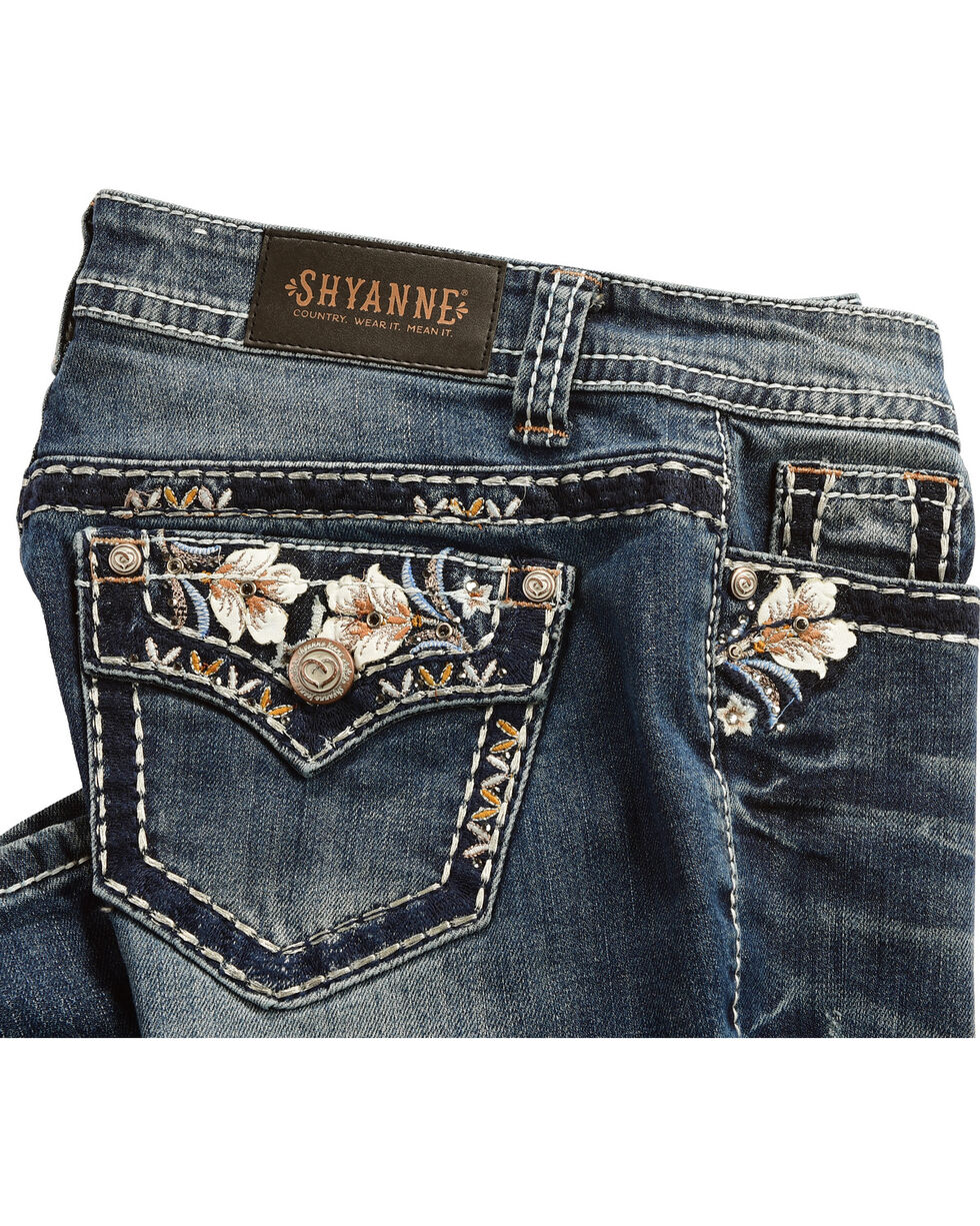 Shyanne Women's Low Rise Floral Boot Cut Jeans, Indigo, hi-res
