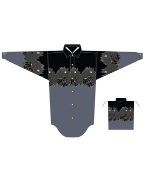 Panhandle Boys' Scenic Border Print Long Sleeve Western Shirt , Charcoal, hi-res