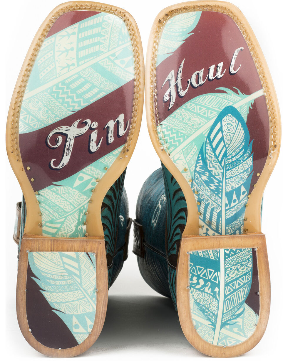 Tin Haul Women's Tribal Feathers Cowgirl Boots - Square Toe, Turquoise, hi-res