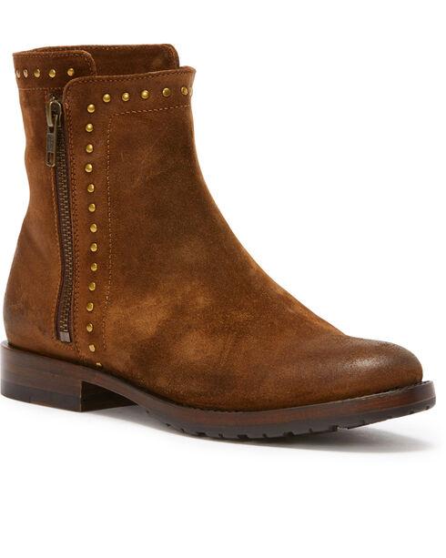 Frye Women's Chocolate Natalie Stud Double Zip Boots - Round Toe , Medium Brown, hi-res