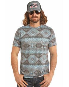 Dale Brisby Men's Aztec Print T-Shirt , Charcoal, hi-res
