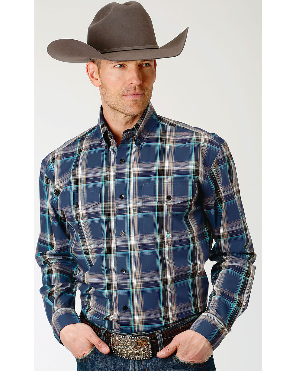 Roper Men's Winter Plum Plaid Long Sleeve Button Down Shirt - Big & Tall, Purple, hi-res