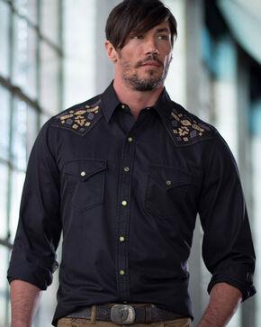 Ryan Michael Men's Black Silk Gabardine Shirt , Black, hi-res