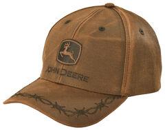John Deere Oilskin Look Patch Casual Cap, Brown, hi-res