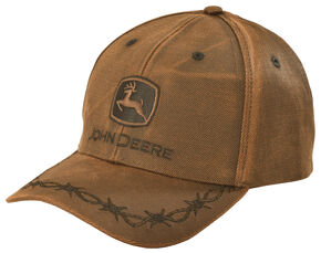 John Deere Oilskin Look Patch Casual Cap, Brown, hi-res