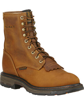 "Ariat Men's Workhog 8"" Lace-Up Work Boots, Aged Bark, hi-res"
