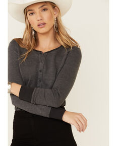 United By Blue Women's Button-Down Waffle-Knit Thermal Top, Charcoal, hi-res