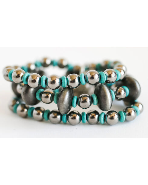 West & Co. Women's Silver Turquoise Beaded Stretch Bracelet, Silver, hi-res