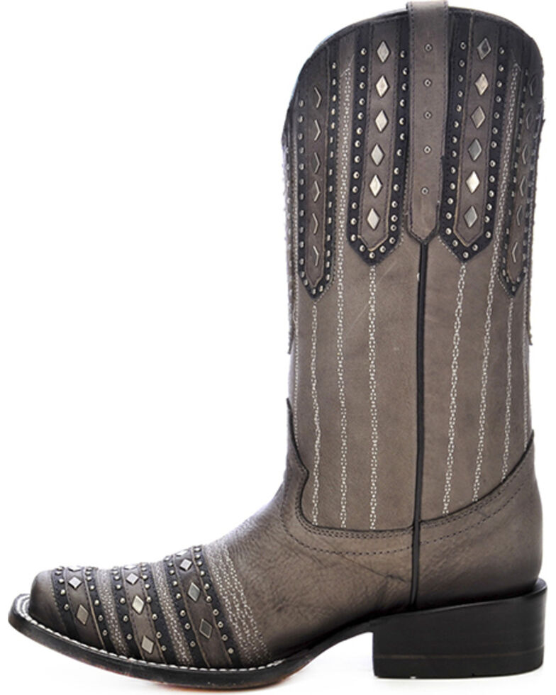 Corral Women's Studded Patch Cowgirl Boots - Square Toe, Black, hi-res