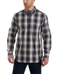 Carhartt Men's Essential Plaid Long Sleeve Work Shirt - Tall , Navy, hi-res
