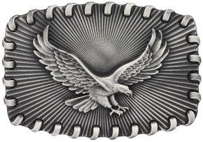 Montana Silversmiths Stitched Edge Radiating Golden Eagle Attitude Belt Buckle, Silver, hi-res