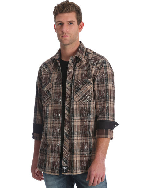Wrangler Rock 47 Men's Black Embroidered Plaid Shirt , Black, hi-res