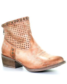 Circle G Women's Rose Cut Out and Studs Western Booties - Round Toe, Pink, hi-res