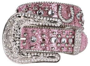 Nocona Pink Glittery Horseshoe Concho Western Belt, Pink, hi-res