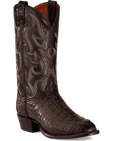 Tony Lama Caiman Tail Boots - Medium Toe, Black, hi-res