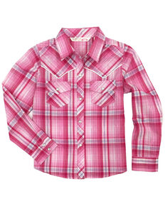 Cumberland Outfitters Girls' Plaid Lurex Snap Long Sleeve Western Shirt, Pink, hi-res