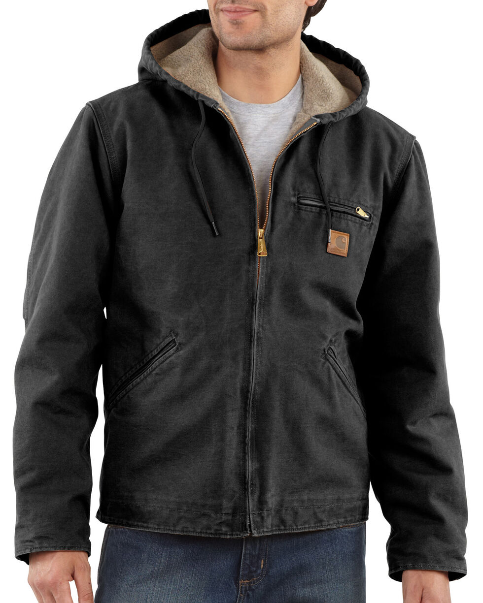 Carhartt Sierra Sherpa Lined Work Jacket - Big & Tall, Black, hi-res
