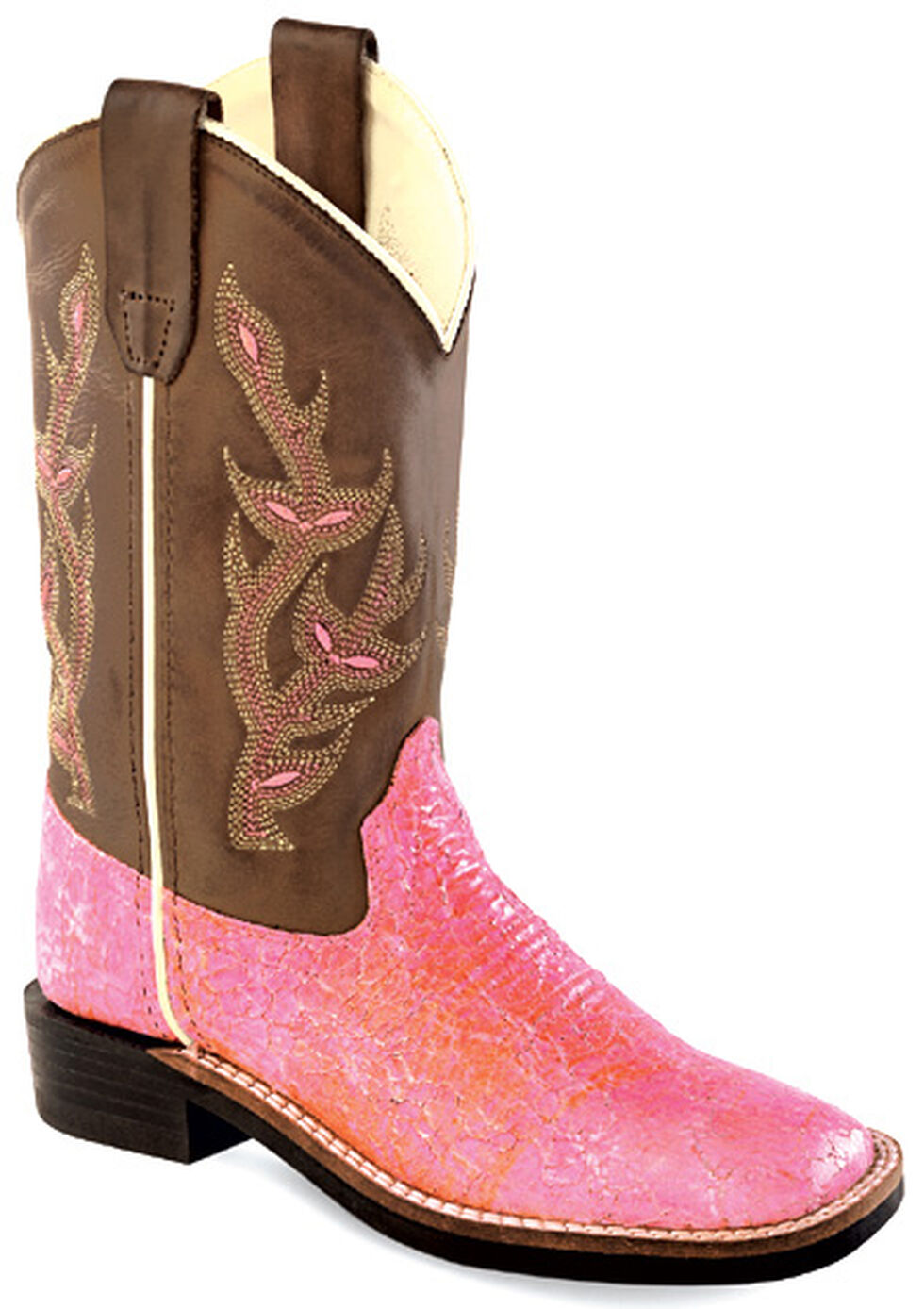 Old West Youth Girls' Sparkling Pink Western Boots - Square Toe , Multi, hi-res