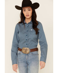 Cinch Women's Teal Geo Print Long Sleeve Button-Down Western Core Shirt , Teal, hi-res