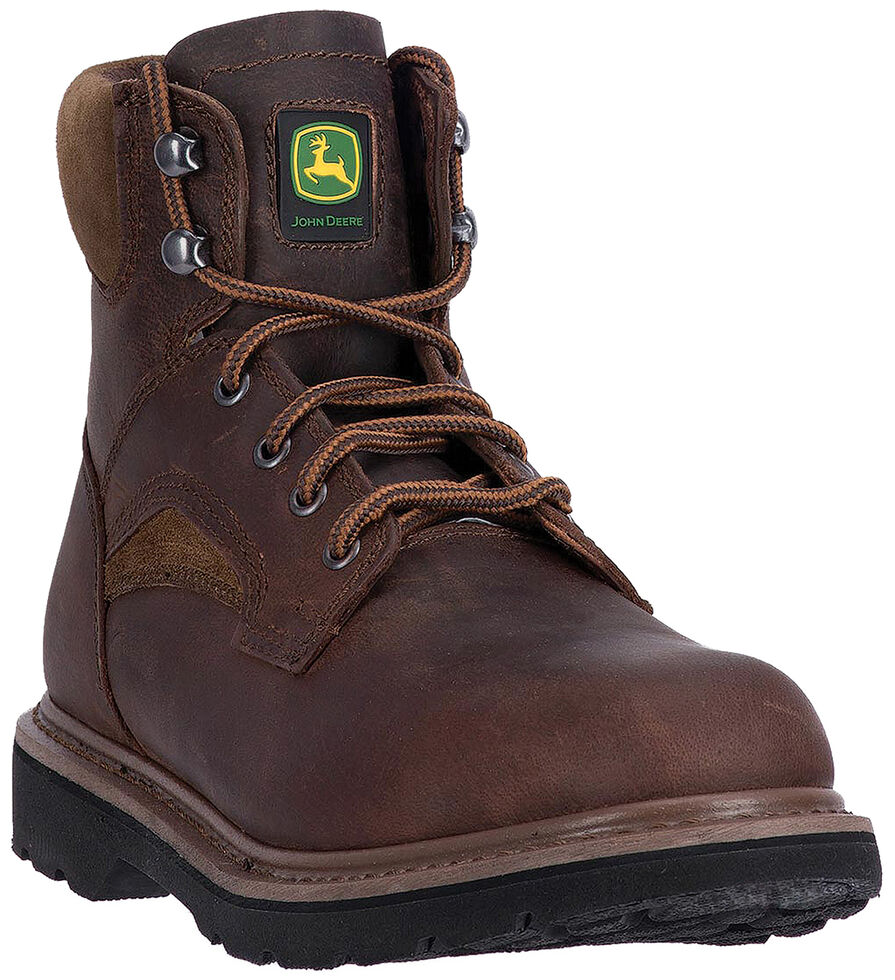 "John Deere Men's Brown 6"" Work Boots - Round Toe, Brown, hi-res"