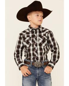 Wrangler Boys' Black Plaid Long Sleeve Fashion Snap Western Shirt , Black, hi-res