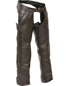 Milwaukee Leather Men's Reflective Piping Vented Chaps, Black, hi-res