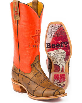 Tin Haul Men's Barbed Wire Got Beef Sole Cowboy Boots - Square Toe, Tan, hi-res