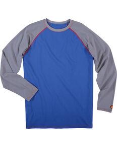 Wrangler Men's Blue FR Flame Resistant Knit Baseball Tee, Blue, hi-res