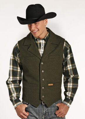 Powder River Outfitters Men's Black Wool Montana Vest , Loden, hi-res