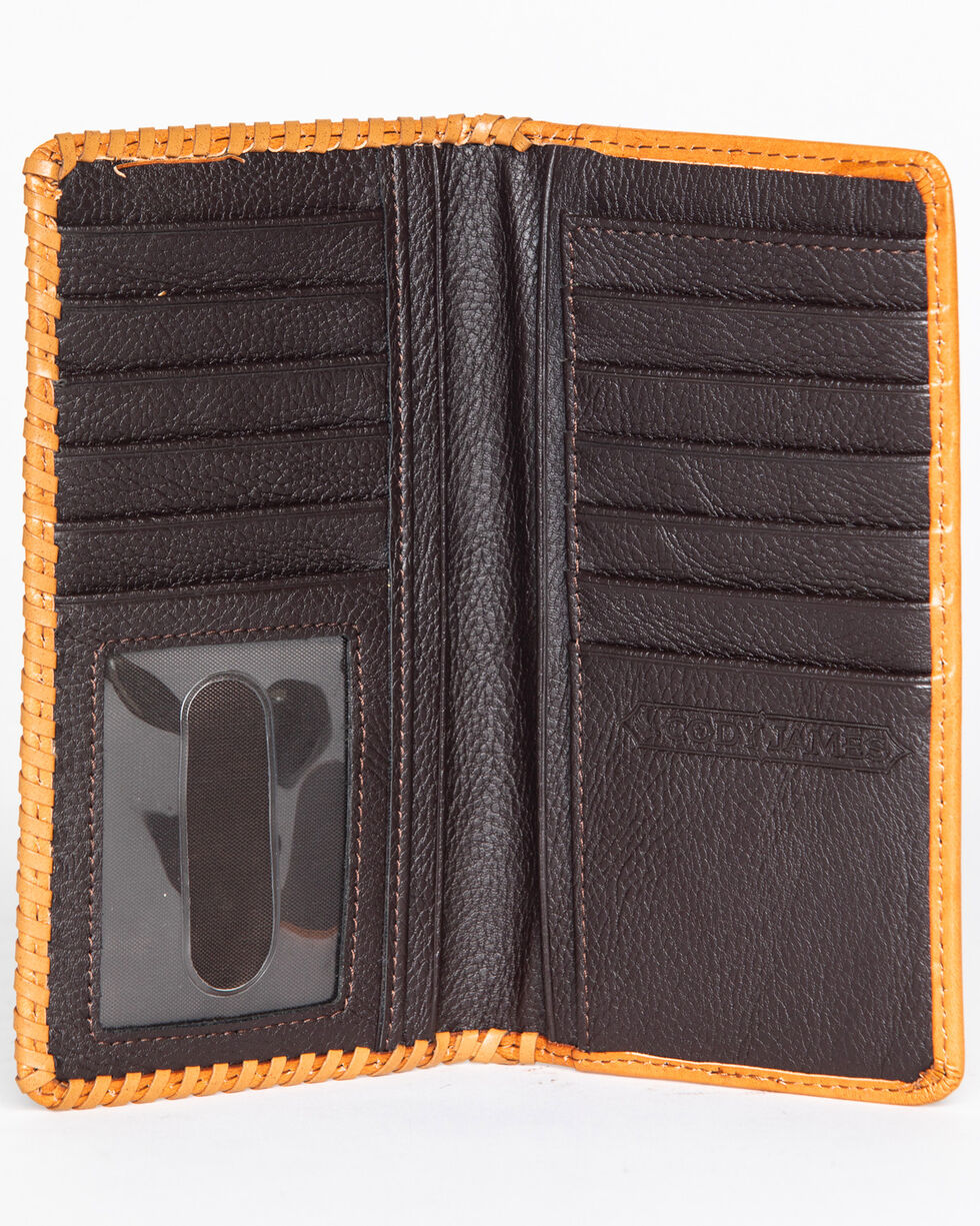 Cody James Men's Tooled Checkbook Wallet, Tan, hi-res