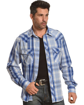 Wrangler Men's Light Blue Plaid Fashion Snap Shirt , Light Blue, hi-res